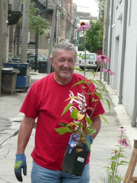 Grandpa with a Cone Flower