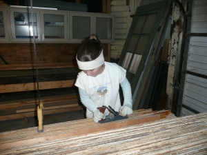 Katers, hand planing the planks