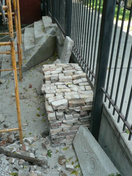 one of the several piles of saved bricks